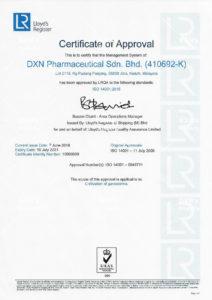 DXN MS ISO 14001:2004 tanúsítvány