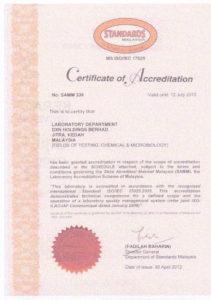 DXN MS ISO/IEC 17025 tanúsítvány
