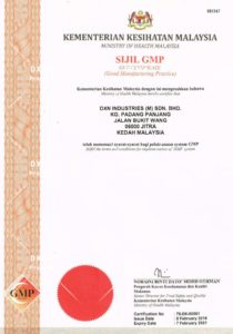 DXN GMP Jó Gyártási Gyakorlat tanúsítvány