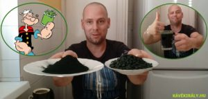 DXN Spirulina zöld csodaalga por és tabletta formájában kistányérra kiöntve