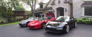 Maserati, Ferrari and Porsche luxury cars