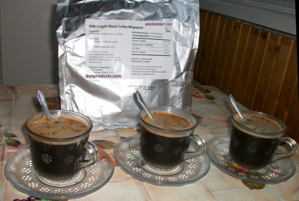 DXN Ganoderma gyógygombás fekete kávé Megapack változatban otthoni használatra