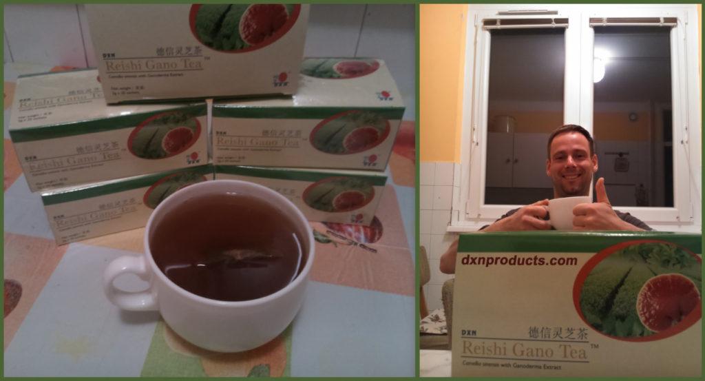 DXN ganodermás tea és egészséges kávé függő iszik a konyhájában