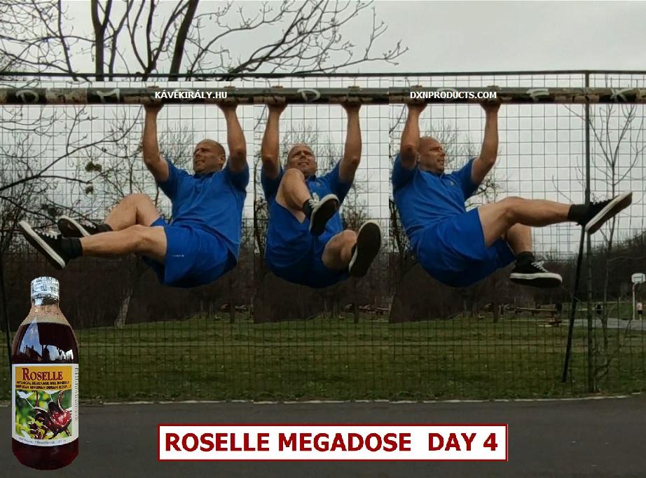 DXN Roselle Juice Megadózis fogyasztása kerékpározós függeszkedő lábemelés közben egy focikapun